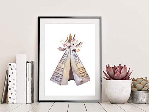 Amizou Din A4 Kunstdruck Indianer Tipi Zelt Aquarell Blumen Boho Chic Federn Geschenk Druck Poster...