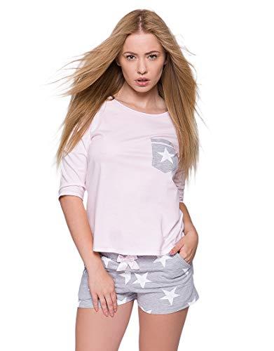Sensis charmantes Nachtwäsche-Set aus feinem Baumwoll-Shirt und koketten Shorts (M (38), rosa/grau mit Sternen)