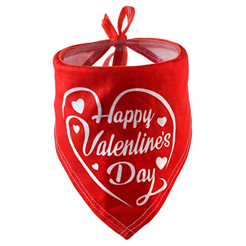 Haokaini Hundebandana-Lätzchen, Dreieck-Kopftuch-Hündchen-Halstuch für Geburtstags-Feiertags-Haustier-Welpen-Zusätze (Color : Valentine's Day(Red))