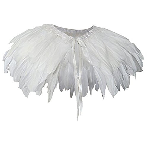 keland Feder Cape Stola Schwarz Weiß Beige Schal Halloween-Kostüm (Weiß)