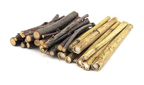 Knabber Hölzer Mix 3 - Birke - Sonnenblumenstiele - Kirsche - Haselnuss - Zweige - Äste - Knabberholz - Nagersnack - Naturäste - Kleintierfutter - Knabberzweige - Kaninchen - Chinchilla - Nager - 10 cm - 100g