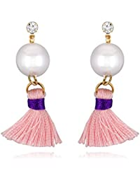 Spargz Fashionable Baby Pink AD Stone With Pearl Gold Plated Cotton Thread Tassel Earring For Women AIER 857