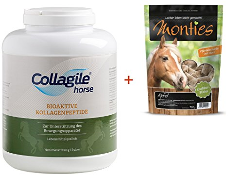 Collagile® Horse 2500g bei Arthrose + Monties Pferde-Gourmet-Snack Apfel Sticks 700g