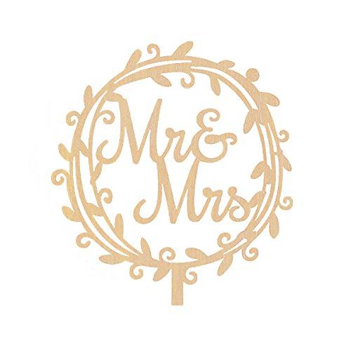 ROSENICE MR MRS Cake Topper Kuchendeckel aus Holz für Verlobung Geburtstag Hochzeitstorten Dekor (Garland)