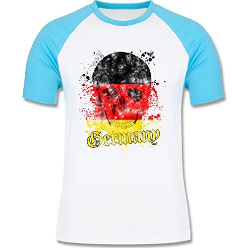 EM 2016 - Frankreich - Germany Schädel Vintage - zweifarbiges Baseballshirt für Männer Weiß/Türkis