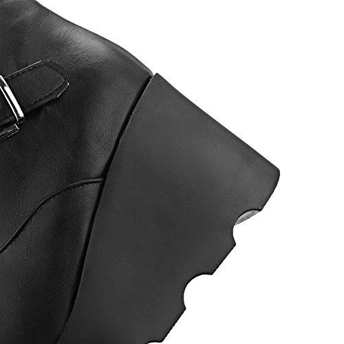 AgooLar Damen Metall Schnalle Rund Zehe Wedges Plattform Niedrig-Spitze Stiefel Schwarz