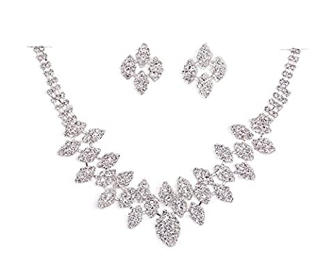Elegant Crystal Clear Diamante Exclusive Bridal Designer Necklace and Earrings Jewellery Set - BA1524TB