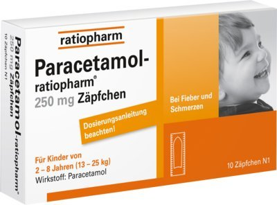 Paracetamol-ratiopharm 250 mg Zäpfchen, 10 St. Suppositorien