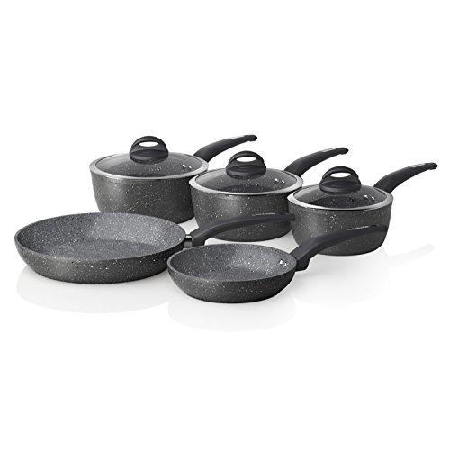 Tower Cerastone Saucepan Set with Easy Clean Non-Stick Ceramic Coating, Aluminium, Graphite, 5 Piece