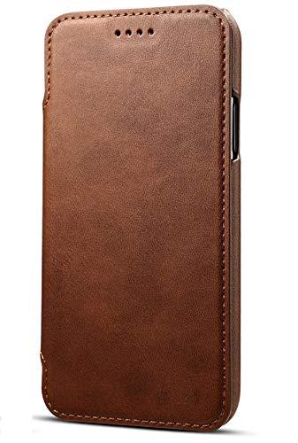 Preisvergleich Produktbild Apple iPhone 8 Plus Leder Handy Hülle Flip Case Handytasche Cover Schale mit Kredit Karten Fach Geldbörse Geldklammer Leder Handy Schutzhülle,Braun