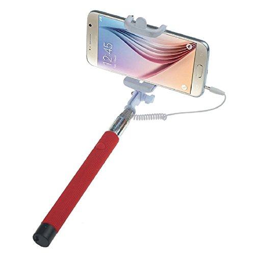 ARTLU® Selfie-Stange Selfie-Stick Teleskop-Stange Selfie Stick in 9 verschiedenen Farben Monopod Selfie Einbeinstativ Ausziehbare Stick (Nein Bluetooth) mit Einstellbaren Klemme für Smartphones, iPhone, Samsung, Huawei, LG, Sony--rot