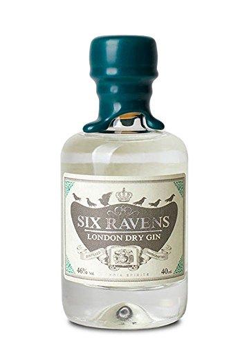 Six Ravens London Dry Gin Mini/Miniatur-Flasche | Mit frischem Ingwer destilliert | 46% Vol. | Schöne Flasche mit Kork und Wachsversiegelung | (1x 0.04l)