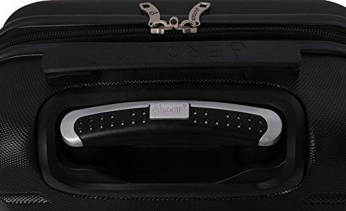 Aerolite ABS Hartschale 4 Rollen Leichtgewicht Handgepäck Kabinenkoffer mit eingebautem TSA Schloss, Genehmigt für Ryanair, British Airways & Viele Mehr, 79cm, Schwarz - 5