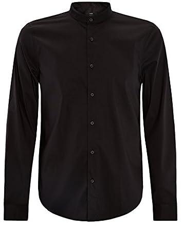oodji Ultra Herren Baumwoll-Hemd Extra Slim Fit mit Stehkragen, Schwarz, 40cm / DE 48 / S