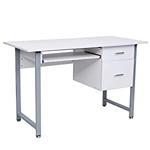 Songmics bureau informatique avec 2 tiroirs table de - Bureau informatique 120 cm ...