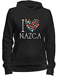 Idakoos I love Nazca colorful hearts - Ciudades Peru - Sudadera con capucha para mujer