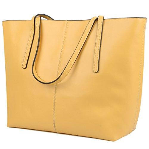 Yaluxe Donna Borse a mano per lavoro /scuola/ viaggio Vero Pelle shopper Stile semplicemente elegante Borse a tracolla giallo