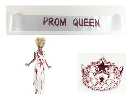 Prom Queen Sash And Tiara Set Zombie Prom Queen Homecoming Halloween Costume (Halloween Costume Queen Prom)