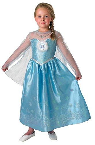 Disney Elsa Frozen Eiskönigin Deluxe Kostüm Kinder Karneval Verkleidung Mädchen (Kids Für Elsa Kostüm Frozen)