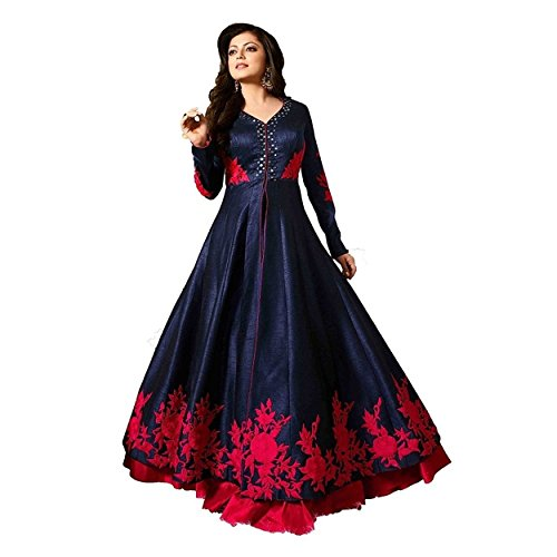 Ethnic Empire Women Banglory Silk Anarkali Semi-Stitched Wedding Salwar Suits For Women...