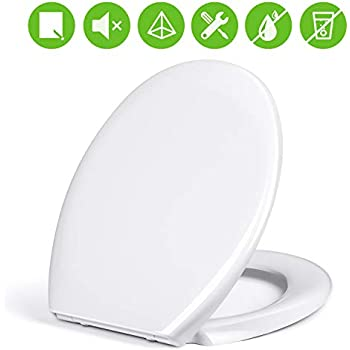 WOLTU Copriwater Sedile WC Universale Coperchio con Chiusura Ammortizzata Soft Close Toilet Seat Bagno in Plastica Antibatterico Bianco WS2586