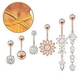 YHmall 6 Stück Edelstahl Bauchnabel Bauchnabelpiercing Rose Gold Bauch Piercing Schmuck für Damen, 6 Stile MEHRWEG