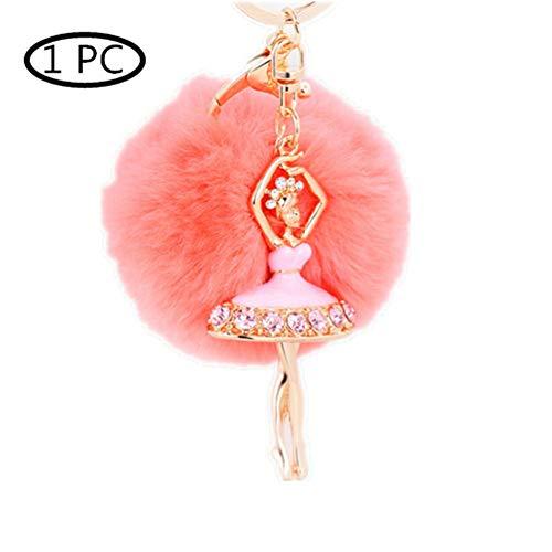 KANKOO Autoschlüssel Ring Flauschiger Schlüsselanhänger Chians Ballett Ornament Schlüsselanhänger Hängende Taschen-Dekoration Kenchain Schlüsselanhänger Für Frauen pink