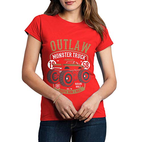 C408WCNTR Damen T-Shirt Outlaw Monster Truck Vehicles Big Foot Bigfoot Diesel Power Ultimate Crush World League Racing Team(Small,Red) -