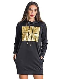Gianni Kavanagh Black Gold Bars Hoodie Dress Vestito Casual Donna