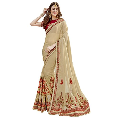 Triveni Georgette beige colour heavy party Wear embroidered Designer Saree with blouse