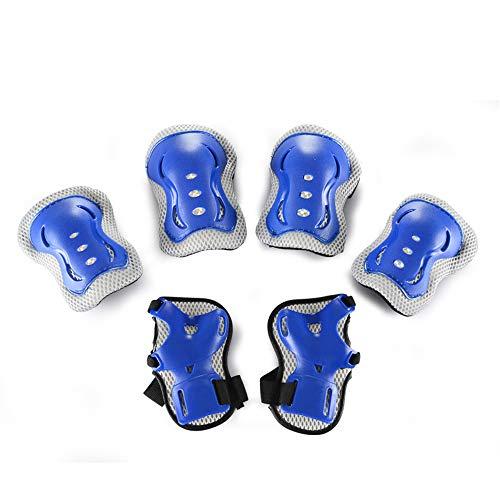 Kids Protective Gear Set, Sicherheitspolster Safeguard Support Pad für Knie, Ellbogenschützer und Handgelenkschutz für Rollerblading, Skating, Volleyball, Basketball, BMX (Einheitsgröße, Blau)