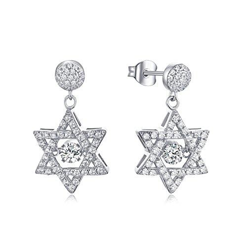 Starchenie orecchini pendenti in argento sterling 925, orecchini placcati oro bianco con topazio natalizio 4MM argento gioiello raffinato