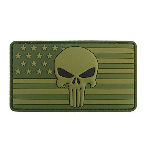 Olive Drab Punisher American Flagge PVC Gummi Fastener Aufnäher Patch