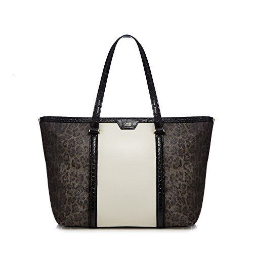 cavalli-class-womens-brown-colour-block-tote-bag