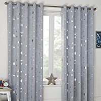 "Dreamscene Galaxy Eyelet Blackout Curtains, 66"" x 72"", 100% Polyester Microfibre Thermal, Silver Grey Moon Stars, 66"" wide x 72"" drop"