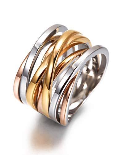 WISTIC Damen Ring Vergoldet aus Edelstahl Partnerring Geschenk fur Mutter Freundin Tochter Silber Rose Gold