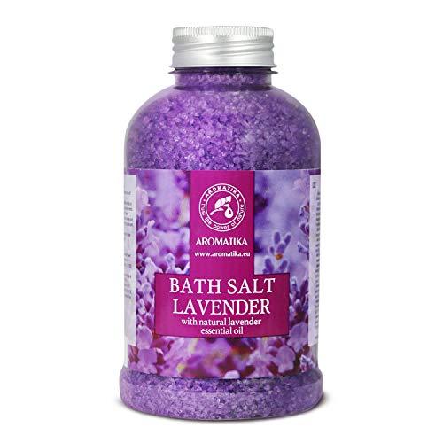 Badesalz Lavendel 600g - Meersalz mit 100% Natürlichem Ätherischen Lavendelöl - Besten für Guten Schlaf - Stressabbau - Baden - Körperpflege - Wellness - Schönheit - Entspannung - Spa - von Aromatika