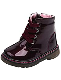 eda99ba5ad2415 Unisex Kinder Warm Boots Schneestiefel Zhen+ 1-6 Jahre Jungen Mädchen Kurze  Stiefel PU-Leder Kinderschuhe Schuhe Winter Freestyle…