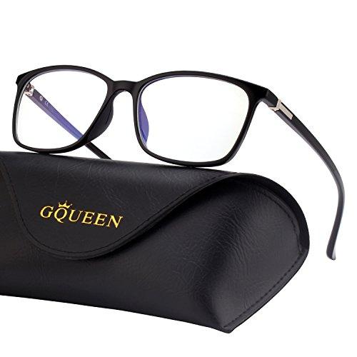 GQUEEN Blaulichtblockierende Computer Brille Gaming Besser Schlafen Antiblend Augenerschöpfung mit TR90 Rechteckigem Rahmen Transparente Gläser Unisex GQ318