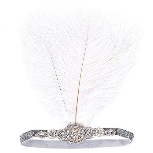 LONGBLE Damen 1920s Stil Stirnband mit weiß Feder Künstlich Kristall Deko Inspiriert von 20er...