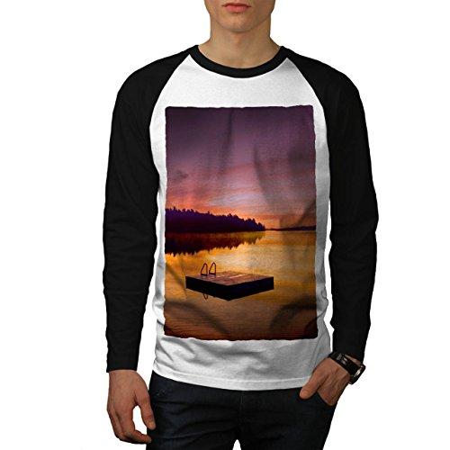 Landschaft See Kunst Natur Alt Wald Fluss Men L Baseball LS T-shirt | Wellcoda (Fluss-baseball-jersey)