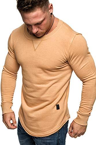 Amaci&Sons Herren Oversize Pullover Rauten Style Longsleeve Sweatshirt Crew-Neck 6080 Beige L