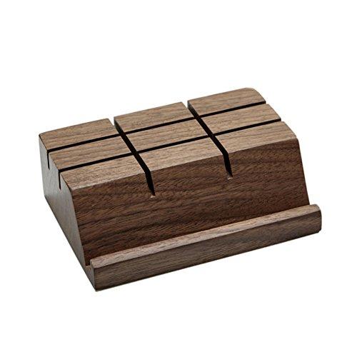 Handyhalter Ipad Stand Visitenkartenhalter Vintage Home Dekoration Holz Ornamente Büro/Wohnzimmer/Bar Theke - Handbuch (Material : Walnut, Größe : S)