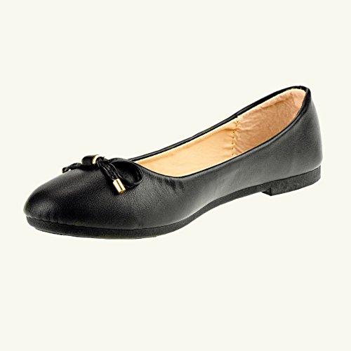 20008 Fashion4Young Klassische Damen Ballerinas Damenschuhe Kunstleder m. Schleife Schwarz