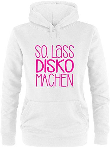 EZYshirt® SO.Lass Disko machen Damen Hoodie Weiss/Neonpink