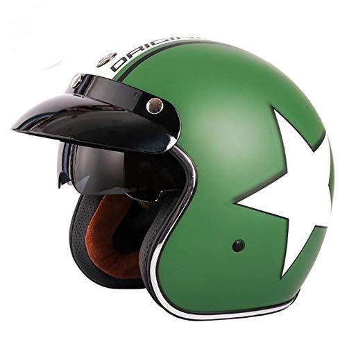 Retro Womens Motorrad Harley Half Helmet, DOT Approved 3/4 Leder offenes Gesicht Chopper Cruiser Jet Bobber Motorrad Sturzhelme (grün),XL -