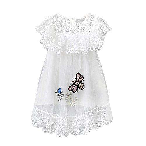 kleidung, YanHoo Kleinkind Kid Baby Mädchen Outfit Kleidung Spitze Pailletten Pageant Party Prinzessin Kleid Bienen Spitze Kleid ()
