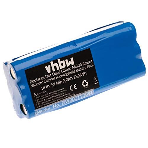 vhbw NiMH Ersatzakku Akku 1500mAh (14.4V) für Haushalt Saugroboter Dirt Devil Fusion M611, Libero, Puck M610, M610-1 wie 0606004, 0607004.