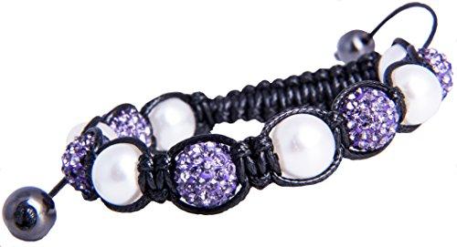 Armband Damenarmband Tibet Glücksbringer Lila Perlen Hämatit Cristalle SH2