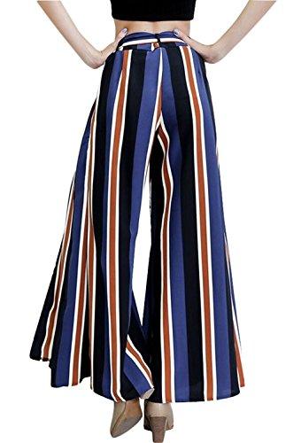 Minetom Donna Estate Sexy Multicolore Strisce Coulisse Elastiche Gamba Larga Pantaloni A Palazzo Con Spacchi Laterali Blu